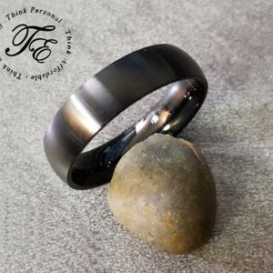 Mens or Womens Matte Black Promise Ring Band